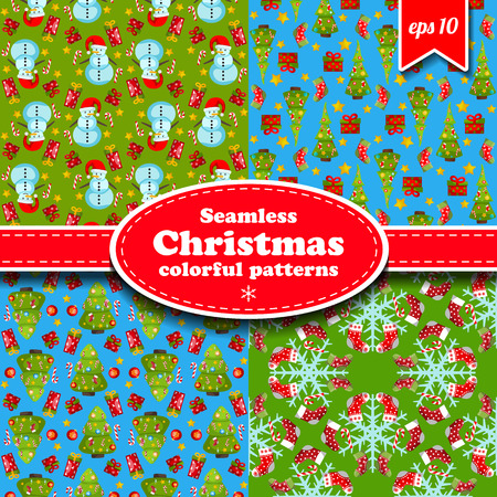 Colorful merry christmas seamless patterns set with winter holiday symbols flat isolated vector illustration