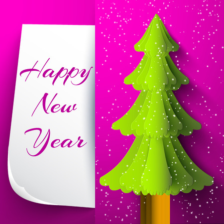 Happy new year holiday card in purple envelope with chrismas tree flat vector illustration