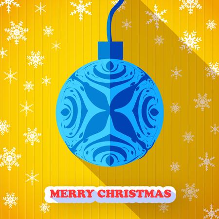 Merry Christmas postcard with blue Christmas ball icon.