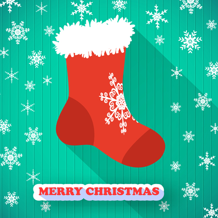 Merry Christmas postcard with red sock icon.