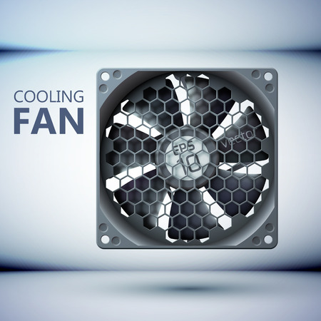 Hardware cooling system tempate with computer cooler and grid on gray background isolated vector illustration