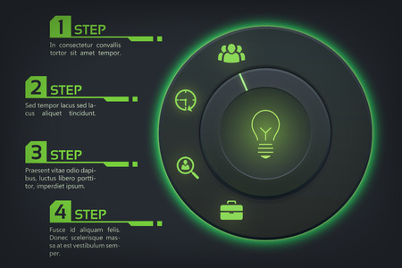 Business info graphic template with control button four options and icons. Illusztráció
