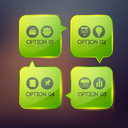 4 つの緑色の光沢を持つビジネス抽象的なインフォ グラフィック テンプレート ラウンド正方形と背景をぼかした写真ベクトル図のアイコン