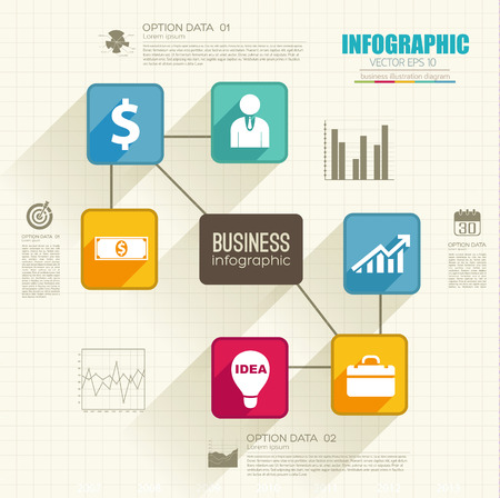 Abstract business infographics with colorful connected squares options and icons on paper sheet vector illustration