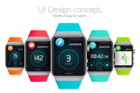 UI design concept with colorful smartwatches and web elements for workout application isolated vector illustration