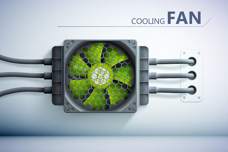 Cooling technology background with realistic green plastic fan grid and wires on gray wall vector illustration
