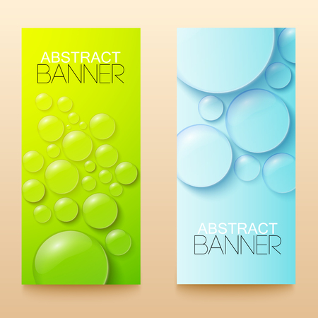 Drops and bubbles green and blue vertical banners set realistic isolated vector illustration Illustration