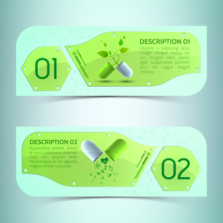 Pharmaceutics horizontal banners set with health symbols realistic isolated vector illustration Ilustrace