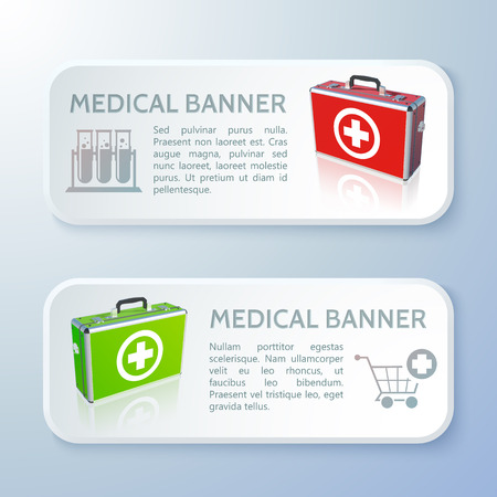 Medicine horizontal banners with text realistic first aid kits and medical equipment isolated vector illustration