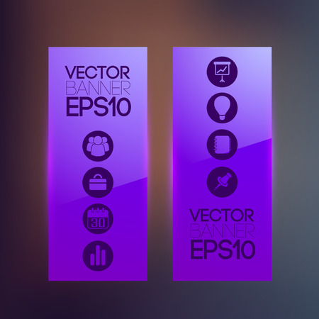 Abstract vertical banners in purple color with business icons on blurred background isolated vector illustration Çizim
