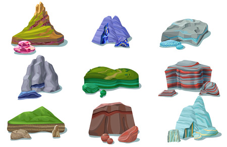 만화 다채로운 아름다운 바위 세트