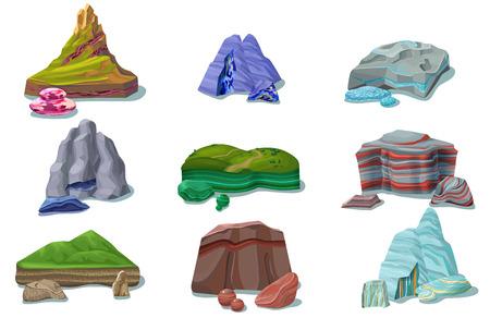 Cartoon kleurrijke mooie rotsen instellen
