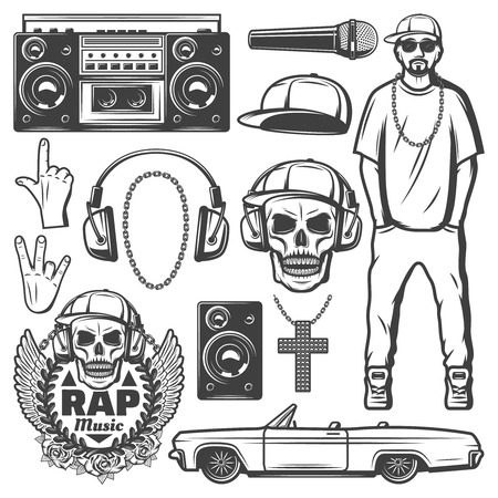 Vintage Rap Music Elements Collection