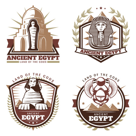 Vintage Colored Ancient Egypt Emblems Set Иллюстрация