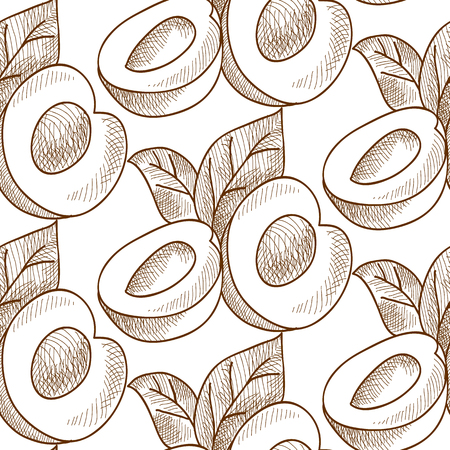 Abstract Fruit Monochrome Seamless Pattern