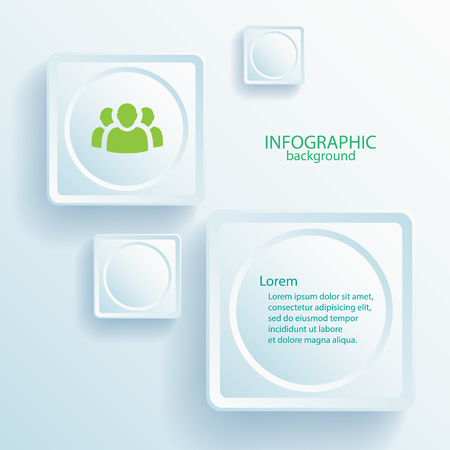 Abstract infographic web design elements with text light buttons and team icon vector illustration Çizim