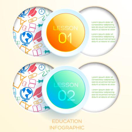 Infographic concept met twee glanzende cirkels en ronde gaten met kleurrijke iconen vectorillustratie leren