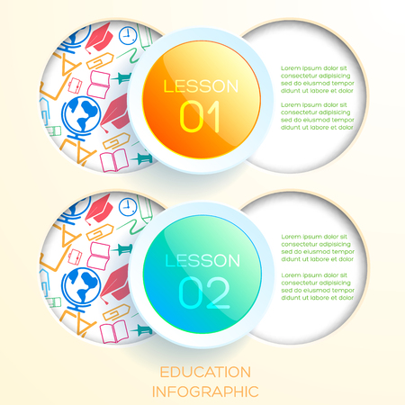 Learning infographic concept with two glossy circles and round holes with colorful icons vector illustration 向量圖像