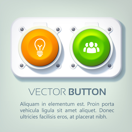 Abstract web infographics with metal panel colorful round buttons and business icons isolated vector illustration Çizim