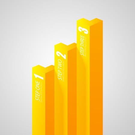 Business geometric infographic template with yellow vertical bars and three options on gray background isolated vector illustration