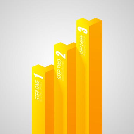 Plantilla de negocio infografía geométrica con barras verticales amarillas y tres opciones en la ilustración de vector de fondo gris aislado Foto de archivo - 89263985