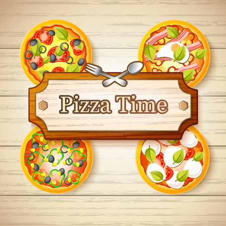Colorful Italian Food Concept Illustration