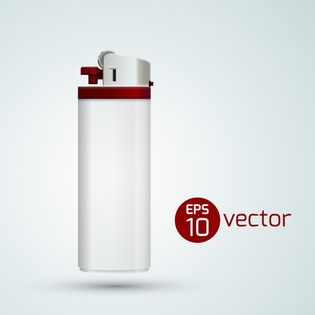 White Gas Lighter Template on plain background.