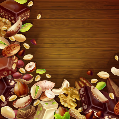 Tasty Natural Products Background on plain background.