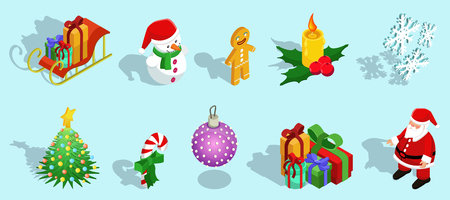 Isometric Christmas Icons Set on plain background. 矢量图像