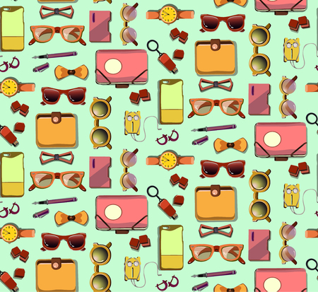 Trendy Hipster Elements Seamless Pattern Illustration