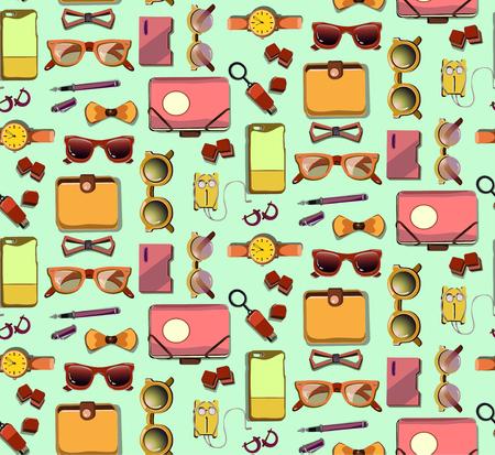 Trendy Hipster Elements Seamless Pattern Standard-Bild - 89462253