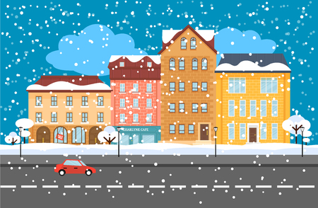 Winter Cityscape Flat Concept on plain background. Illustration