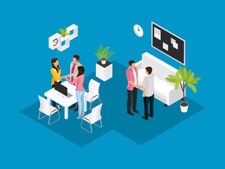 Isometric Business Partnership Concept Illustration