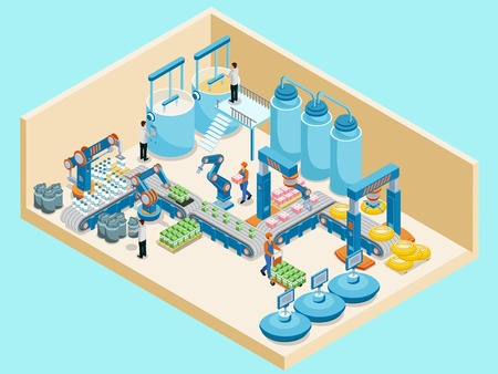 Isometric Dairy Plant Template on plain background. Çizim