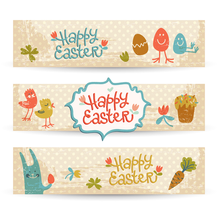 Happy Easter Doodle Banners Set  イラスト・ベクター素材