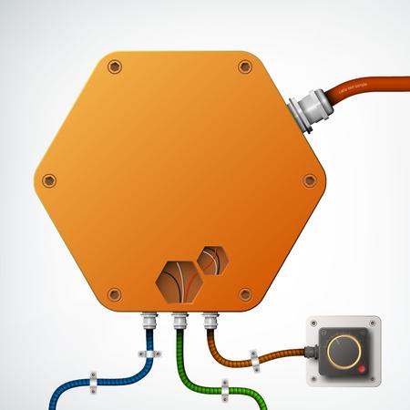 High-Tech Industrial Box Composition Çizim