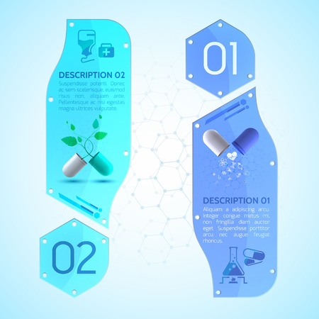 Medication vertical banners set with prescription symbols realistic isolated vector illustration Illustration