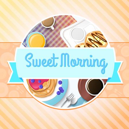 아침 다채로운 템플릿 일러스트