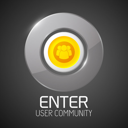 Glossy Community Button With Chrome Border Illustration