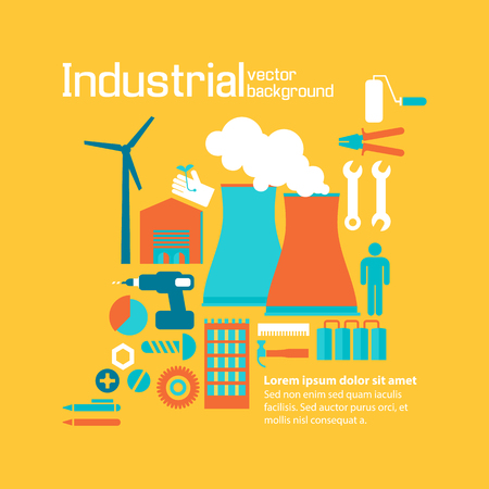 Industrial Factory Design Yellow Background Concept