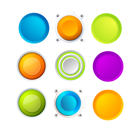 Set Of Blank Colorful Buttons