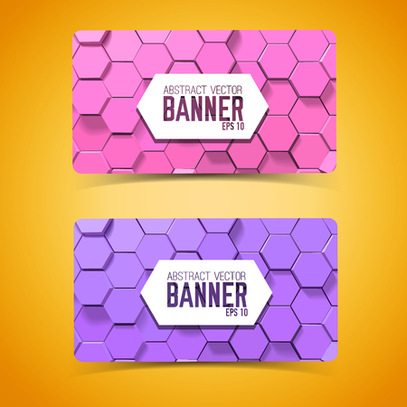 Abstract mosaic geometric horizontal banners
