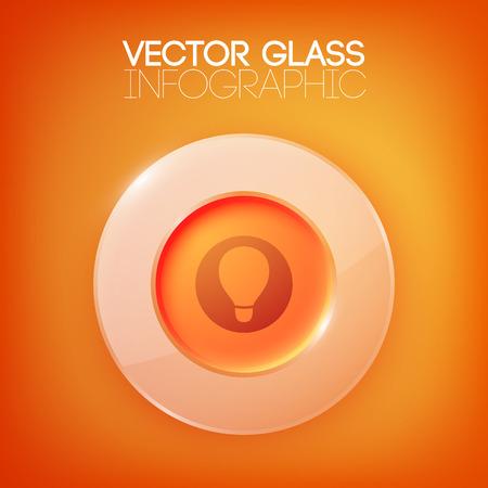 Abstrakter Orange Hintergrund Mit Glastaste Vektorgrafik