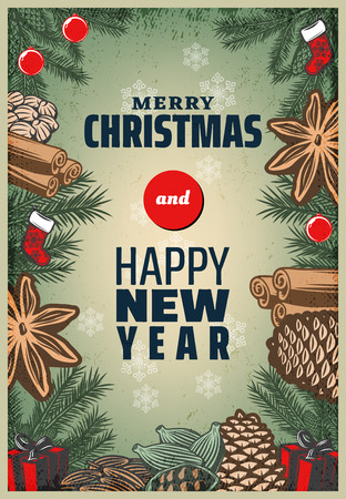 Vintage Colored Christmas Spices Poster