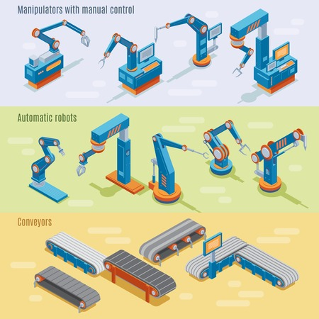 Isometric Industrial Automated Factory Horizontal Banners