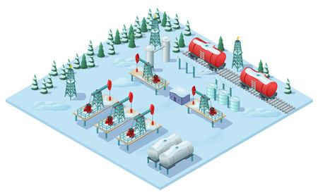 Isometric Oil Extraction Plant Template. Illustration