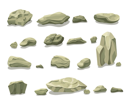 Cartoon Colorful Gray Stones Set, isolated