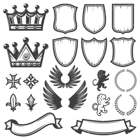Vintage Monochrome Heraldic Elements Collection Ilustrace