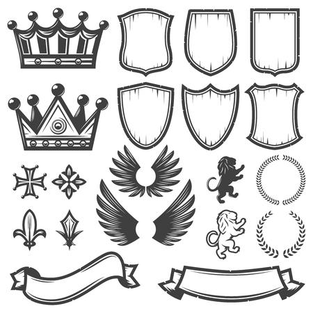 Vintage monochrome heraldische Elemente Sammlung