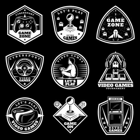 ヴィンテージホワイトビデオゲームラベルは、黒の背景に設定されています。